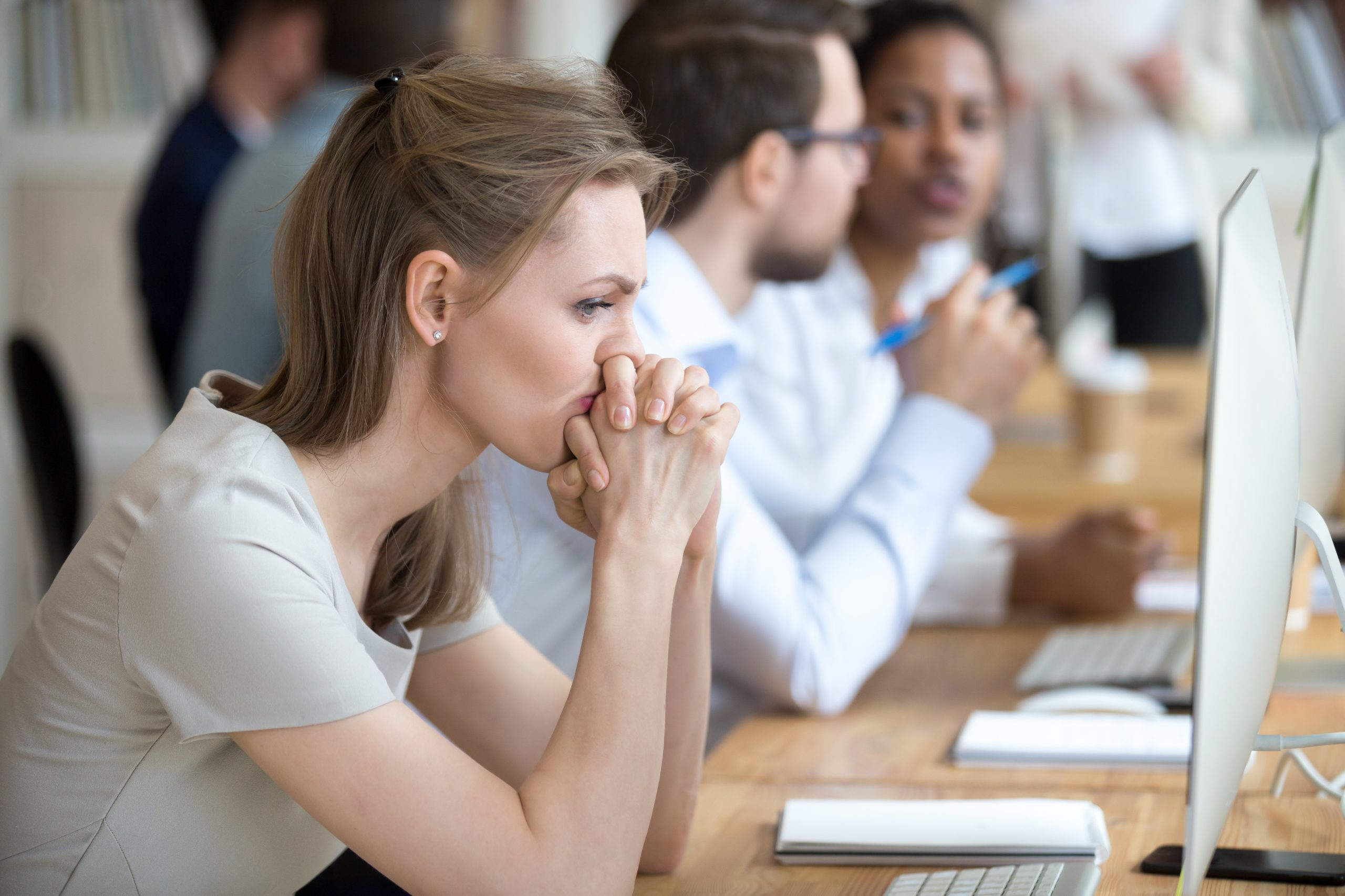 Woman employee having problems and doubts about business