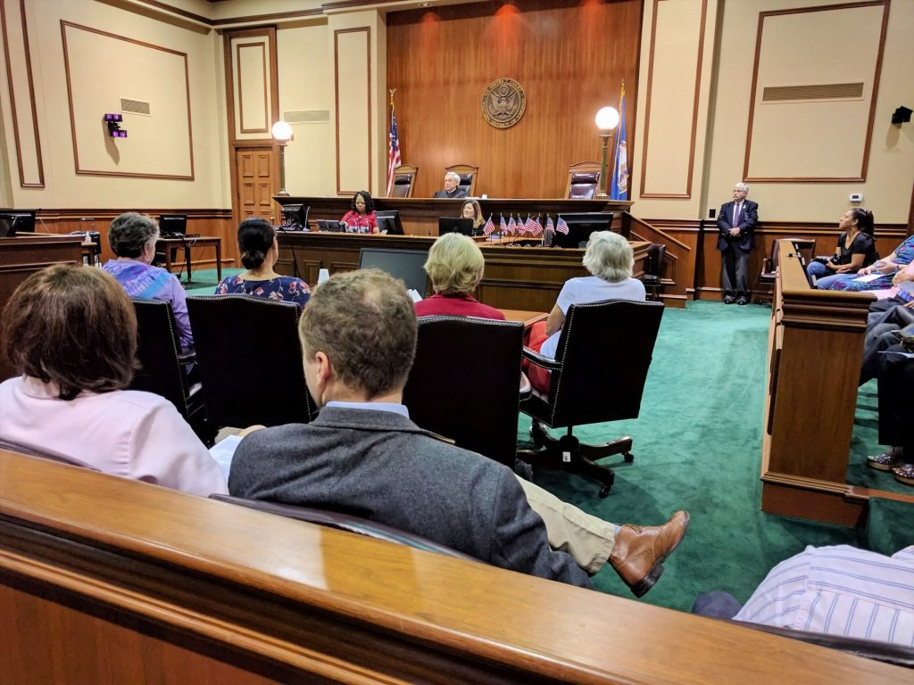 A view of a courtroom in session