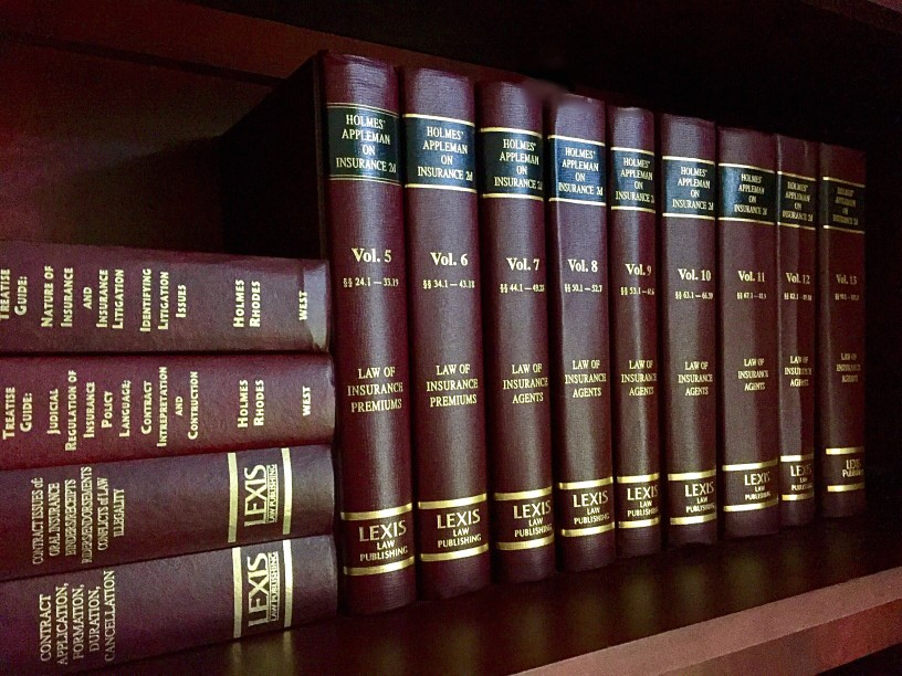 Law books in a law firm library